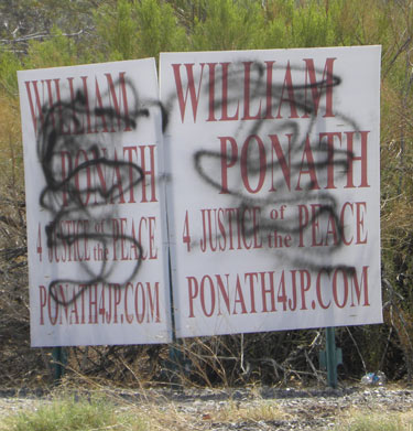 bill ponath signs vandaled