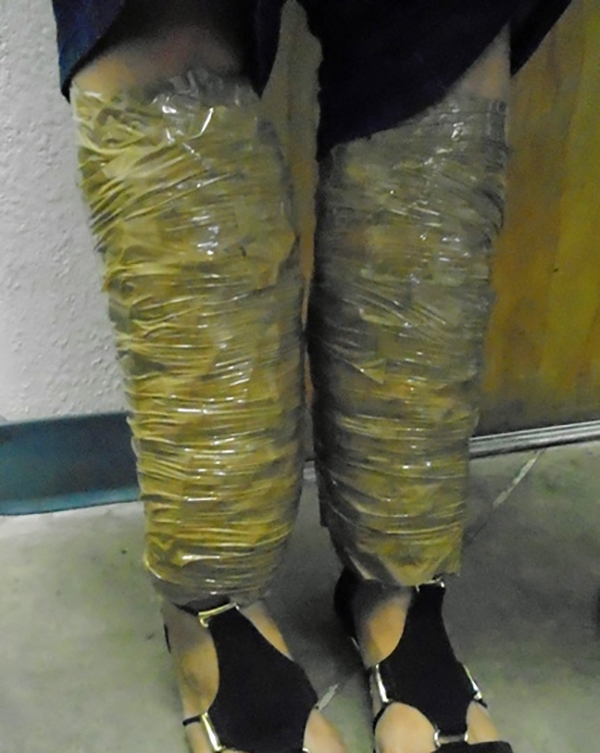 taped to legs