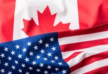 canadian and american flags