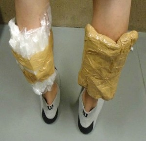 drugs strapped to legs