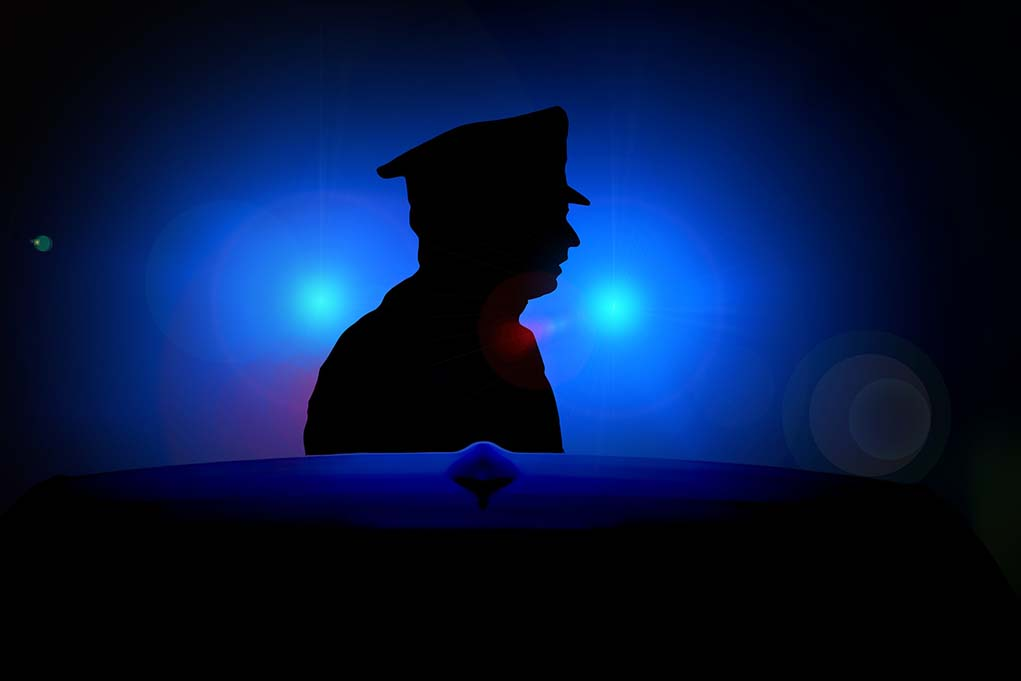 police officer, blue light background
