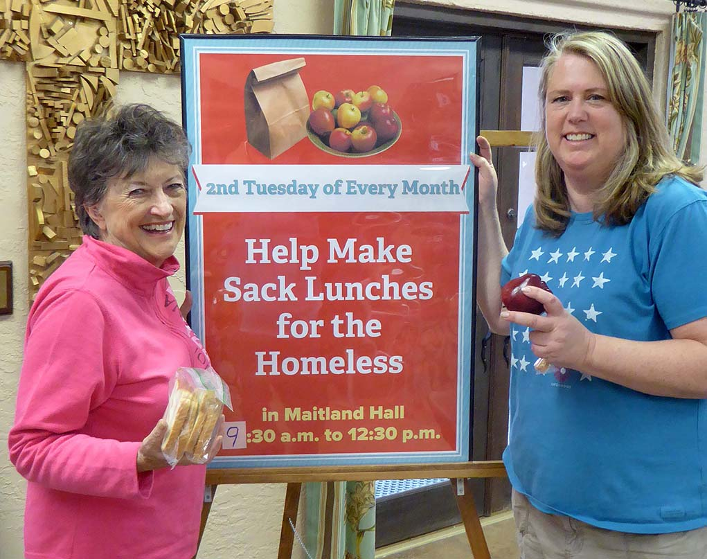 Marcia Amrine (left) and Patti Worthington, both members of Good Shepherd of the Hills Episcopal Church, Cave Creek, Arizona, co-founded the church's sandwich ministry. Volunteers make some 400 sandwiches for the homeless each month to help support an ongoing food distribution program at the Phoenix Rescue Mission, Phoenix, Arizona.