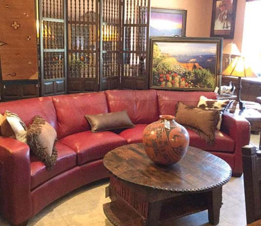 out west red leather sofa
