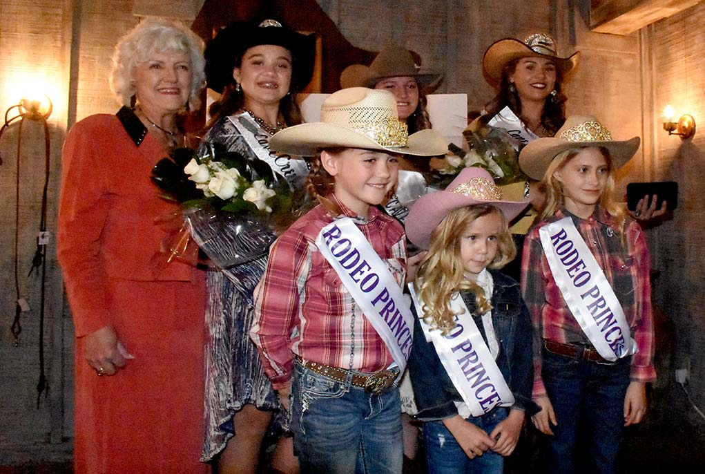 (back l-r) Rodeo Queen Committee Chairperson Carol Grencevicz, 2018 Rodeo Teen Lily Alserver, 2017 Queen Samantha Erdmann, 2018 Queen Megan Alserver (front l-r) Three of the Rodeo Princesses who were in attendance, Peyton Griffin, Mackenzie Alley, Ava Van Lohmann
