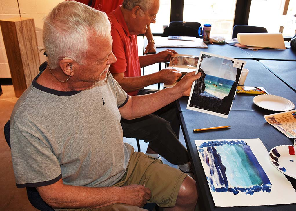 Veteran Jerry Kretsch shows off his work